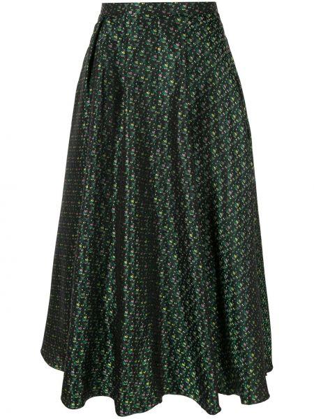 Зеленая шелковая пышная юбка миди Rochas