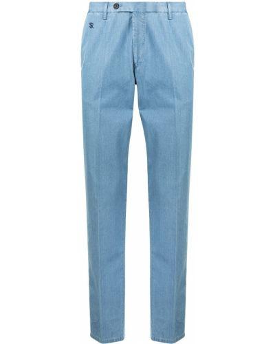 Niebieskie spodnie z paskiem bawełniane Stefano Ricci