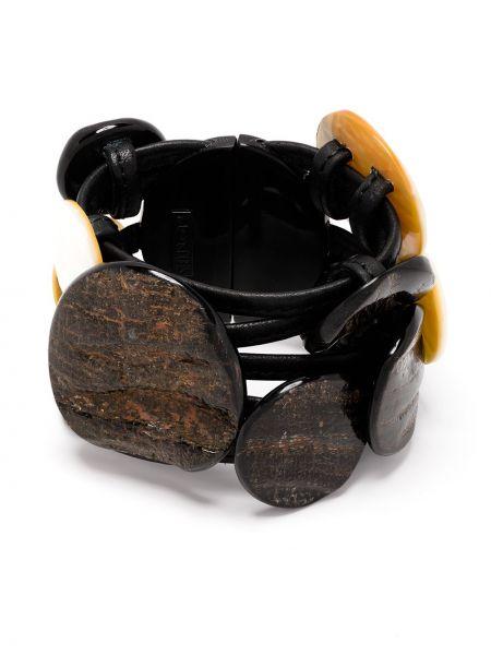Czarna bransoletka skórzana perły Monies