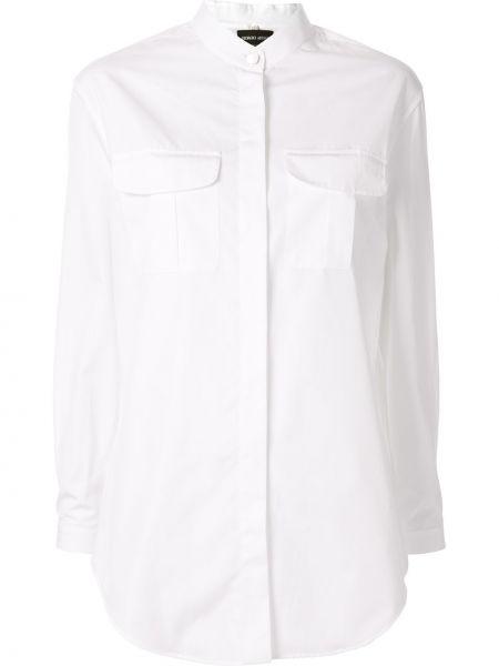 Хлопковая белая рубашка круглая Giorgio Armani