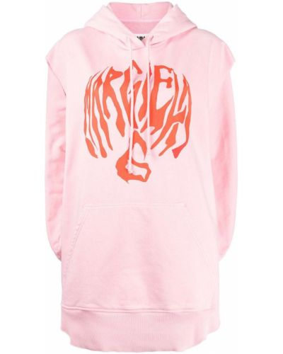 Różowa bluza kangurka z kapturem bez rękawów Mm6 Maison Margiela