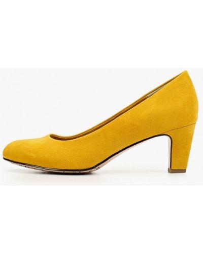 Туфли на каблуке осенние велюровые Tamaris