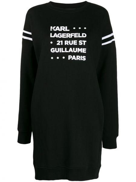 Хлопковое черное платье в рубчик круглое Karl Lagerfeld