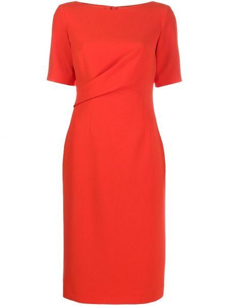 Оранжевое платье с рукавами с короткими рукавами круглое из вискозы Paule Ka