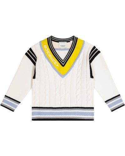 Biały sweter bawełniany Burberry Kids