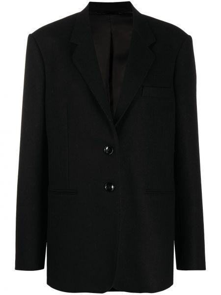 Шерстяной черный удлиненный пиджак на пуговицах Lemaire
