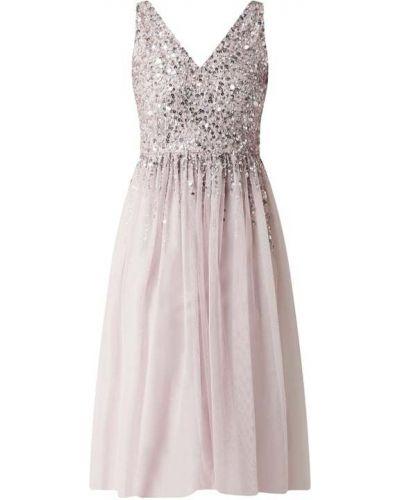 Sukienka koktajlowa rozkloszowana z cekinami tiulowa Lipsy