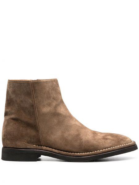 Кожаные коричневые ботинки на каблуке на молнии на каблуке Alberto Fasciani