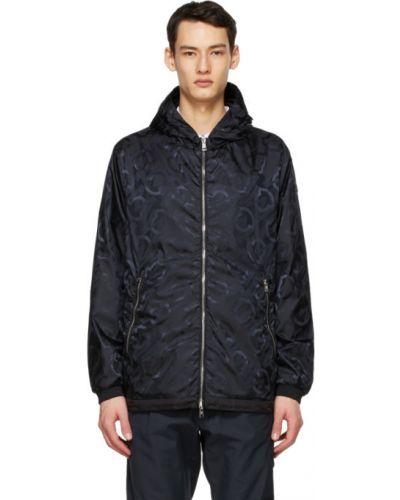 Черная кожаная длинная куртка с капюшоном Moncler