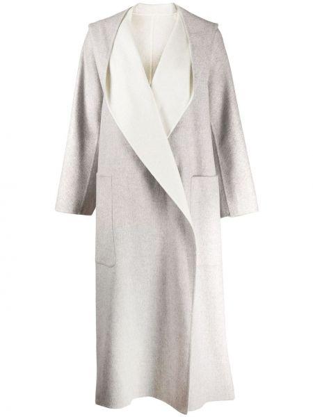 Свободное серое пальто оверсайз с воротником Agnona