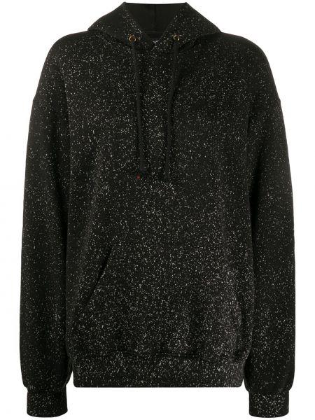 Хлопковый с рукавами черный свитер с капюшоном Ottolinger