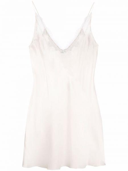 Кружевное белое шелковое платье на бретелях Carine Gilson