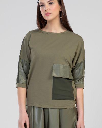 С рукавами шифоновая зеленая блузка прима линия
