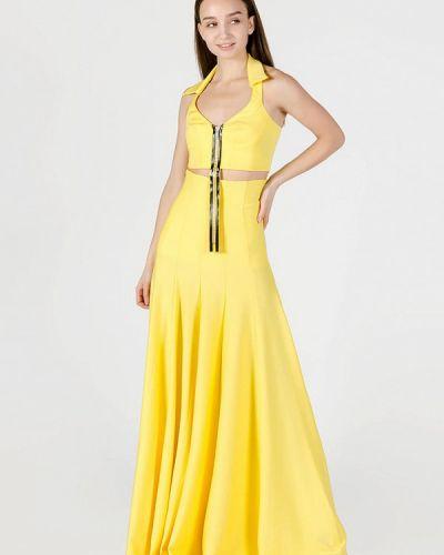 Желтый вязаный юбочный костюм Kriza