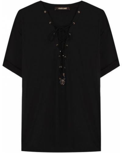 Однотонная хлопковая футболка со шнуровкой Roberto Cavalli