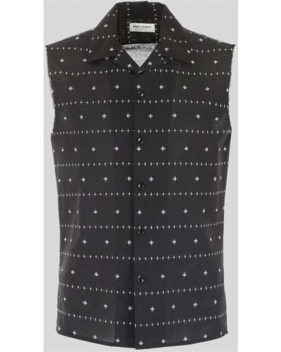 Czarna koszula bawełniana bez rękawów Saint Laurent