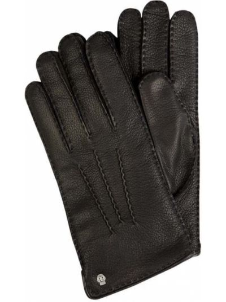 Skórzany czarny skórzany rękawiczki prążkowany z nitami Roeckl