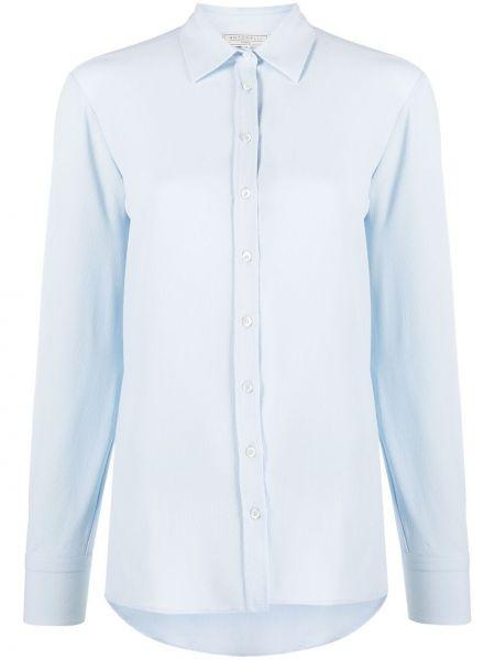 Шелковая синяя рубашка на пуговицах Antonelli