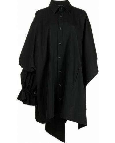 Черная классическая рубашка оверсайз с воротником Yohji Yamamoto