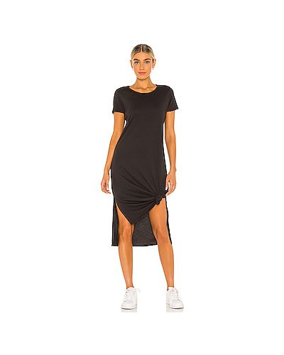 Хлопковое черное платье с разрезом Michael Lauren