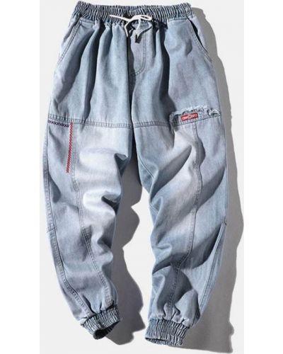 Синие джинсы на резинке с вышивкой Zaful