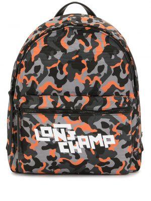 Pomarańczowy plecak z printem Longchamp