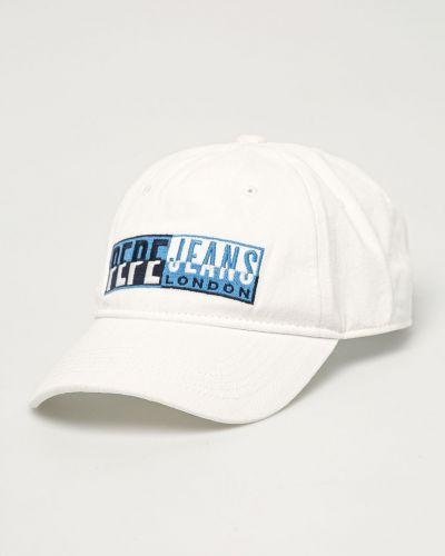 Biały kapelusz bawełniany Pepe Jeans