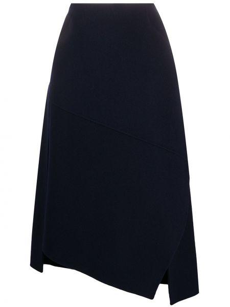Кашемировая синяя асимметричная с завышенной талией юбка Odeeh