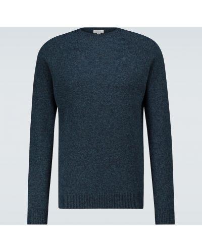 Мягкий шерстяной синий спортивный свитер Sunspel