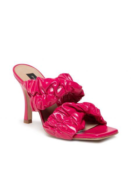 Sandały skórzane eleganckie - różowe Pinko