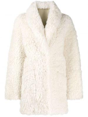 Белое кожаное длинное пальто с воротником Amen