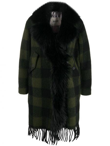 Шерстяное длинное пальто с воротником в клетку Bazar Deluxe