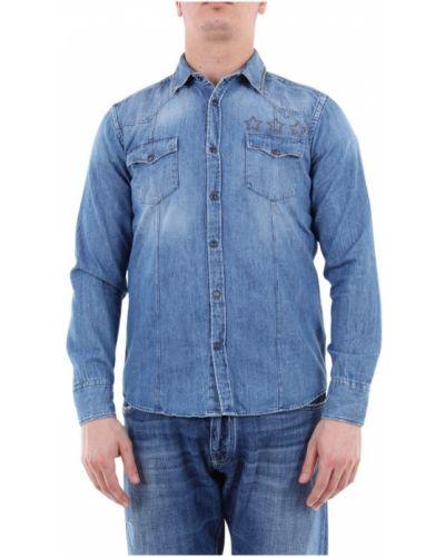 Niebieska koszula jeansowa z długimi rękawami zapinane na guziki Messagerie