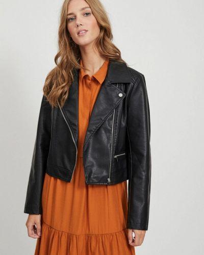 Кожаная черная кожаная куртка Vila