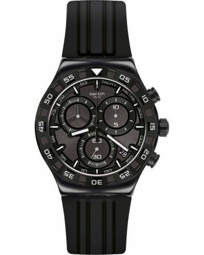 Черные со стрелками силиконовые часы водонепроницаемые Swatch