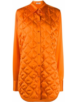 Оранжевая стеганая классическая рубашка с воротником на пуговицах Nina Ricci