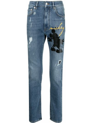 Джинсовые зауженные джинсы - синие Iceberg