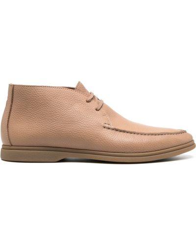 Бежевые ажурные кожаные пинетки на шнурках Brunello Cucinelli