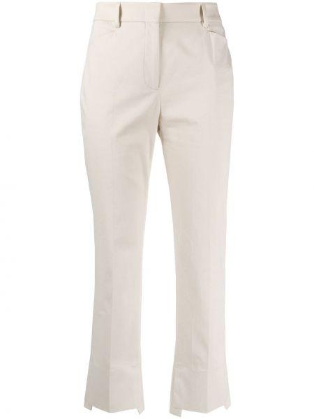 Брючные бежевые укороченные брюки с карманами Incotex