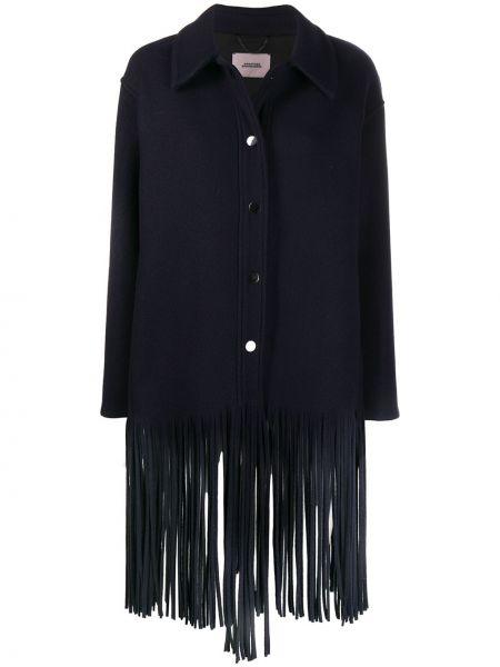 Синее шерстяное пальто классическое с воротником Dorothee Schumacher