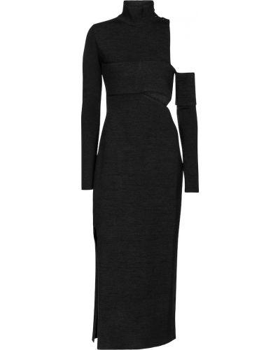 Шелковое черное платье миди бандажное Proenza Schouler