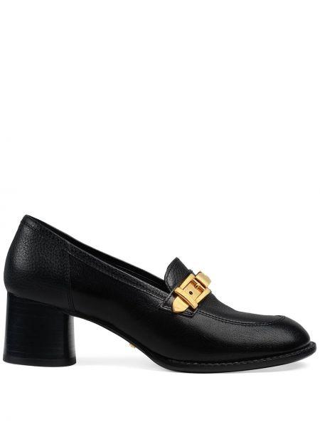 Skórzany czarny loafers na pięcie okrągły Gucci