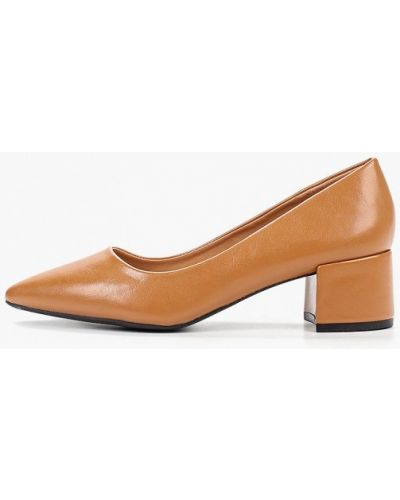Туфли на каблуке кожаные коричневый Vera Blum