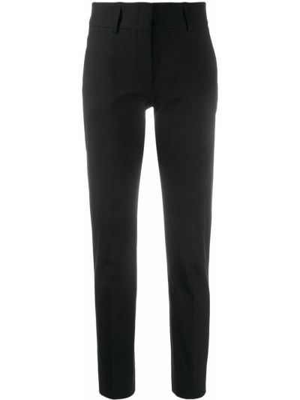Czarne spodnie bawełniane z paskiem Piazza Sempione