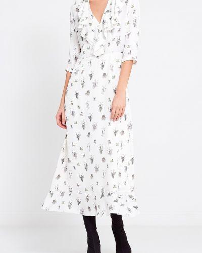 Приталенное с рукавами белое платье миди A La Russe