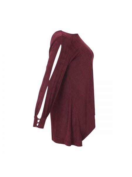 Бордовая блузка с длинным рукавом с вырезом оверсайз с длинными рукавами Mat Fashion
