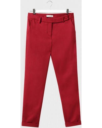 Красные зауженные шерстяные брюки Stefanel