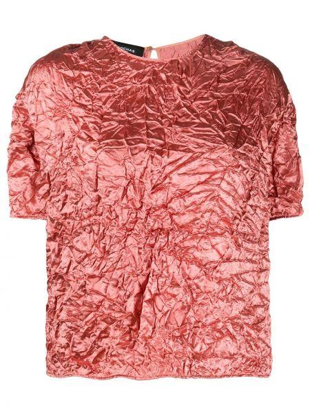 Różowa bluzka krótki rękaw z jedwabiu Rochas