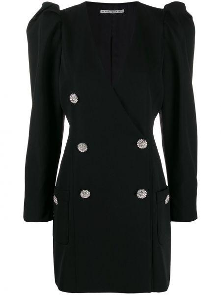 Шерстяной черный платье макси двубортный Alessandra Rich