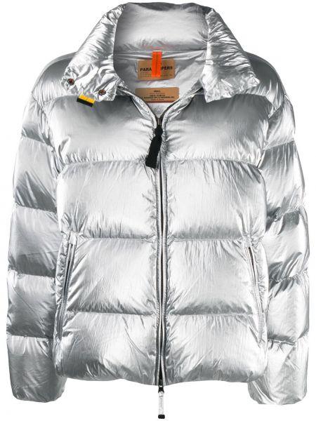 Пуховая серебряная длинная куртка с карманами с перьями Parajumpers